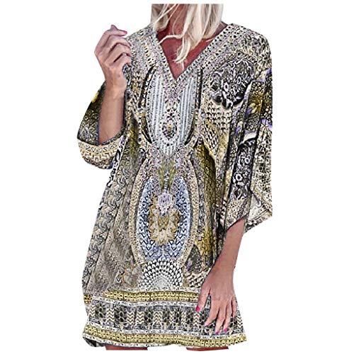CapsA Women Boho Dress Floral Printed Deep V-Neck Summer Beach Bohemian Sundress Loose Short Mini Dress Vacation Maxi