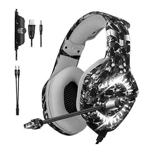 Gaming Headset for PS4, Xbox One, PC, Ordinateur Portable Portable -Stereo Surround Gaming Casques avec Microphone, Suppression de Bruit, lumières LED, Contrôle du Volume Jack 3,5 mm