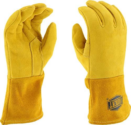 Preisvergleich Produktbild ironcat 6030 Premium Top Getreide Rückseite Hirschleder Mig Schweißen Handschuhe,  Isolierter,  1 Paar,  L,  gold,  1