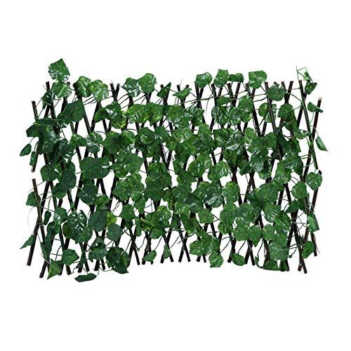 Efeu Sichtschutz, Einziehbarer Zaun, Ausziehbarer Spalierzaun, Efeu künstlich Sichtschutz, Holzzaun, Künstliche Efeu Garten Sichtschutz Für Die Wandgestaltung Gartenzaun Balkon(01/D)