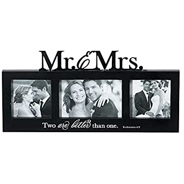 Mr. and Mrs. Two are Better Than One 15.5 x 7.5 Trio Photo Collage Picture Frame