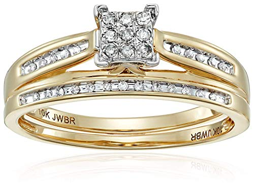 Jewelili 10kt Yellow Gold Square Center Diamond Bridal Ring Set (1/7 cttw), Size 7
