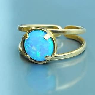 Blue Opal ring Gold. Adjustable Fire Opal Handmade