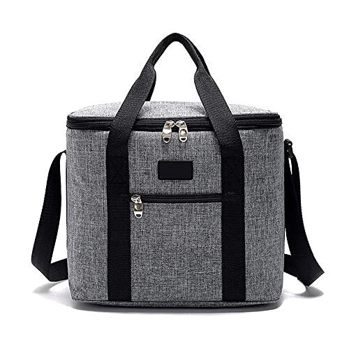 Nenka Bolsa isotérmica grande plegable de 22 L, bolsa térmica para picnic, para personas o almuerzo, nevera para transportar alimentos (30 x 24,5 x 30 cm), color gris