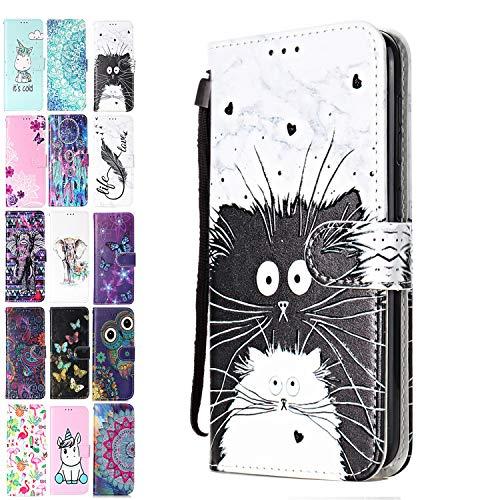 Ancase Lederhülle kompatibel für Motorola Moto G7 Play Hülle 3D Muster Marmor Katze Handyhülle Flip Hülle Cover Schutzhülle mit Kartenfach Ledertasche für Mädchen Damen
