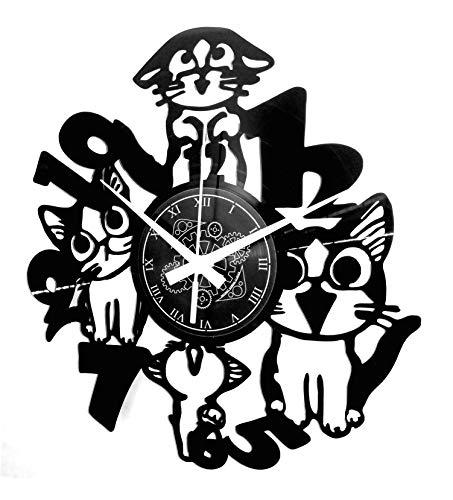 Instant Karma Clocks Orologio in Vinile da Parete Idea Regalo Cats Cat Animali Domestici Gatto Gatti, Vintage, Handmade
