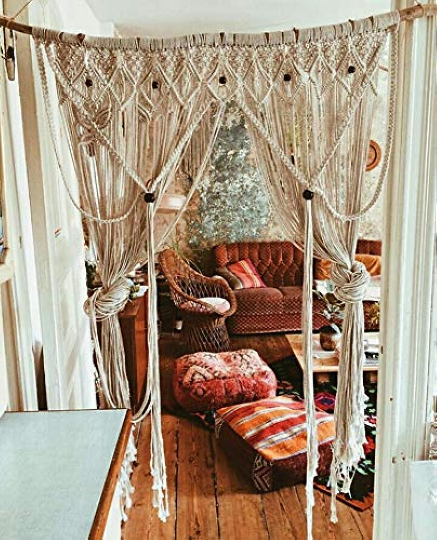 LONJXJ Handgewebter Vorhang Vorhang nach Hause weiche weiche weiche Dekoration B & B Wohnzimmer Dekoration böhmischen Gobelin, Beige Stange 1,5 Decke 1,2  1,8 m B07P5RJD3N 6e55b4