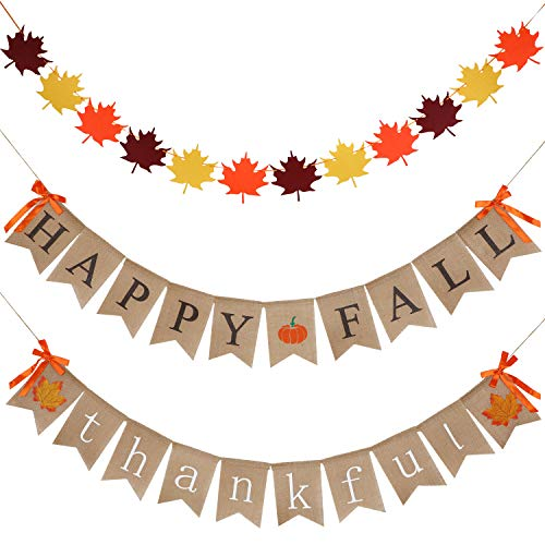 3 Pieces Happy Fall Banner Thankful Banner Give Thanks Banner and Felt Fall Leaves Garland Banner for Fall Thanksgiving Decoration (Style Set 1)
