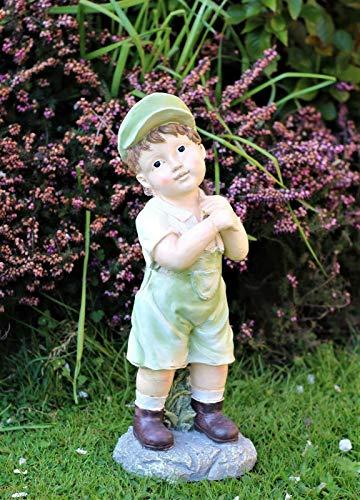 HH Home Hut Solar Garden Ornament Powered Little Boy Cherub Fairy Garden Lamp Decor Patio