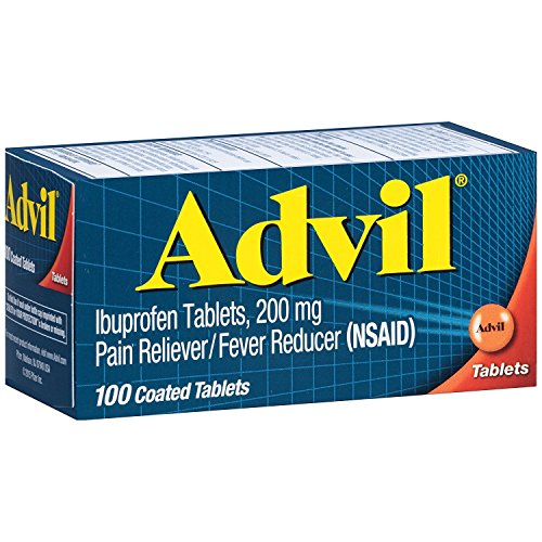 Advil Coated Tablets Pain Reliever and Fever Reducer, Ibuprofen 200mg, 100 Count, Fast-Acting Formula for Headache Relief, Toothache Pain Relief and...