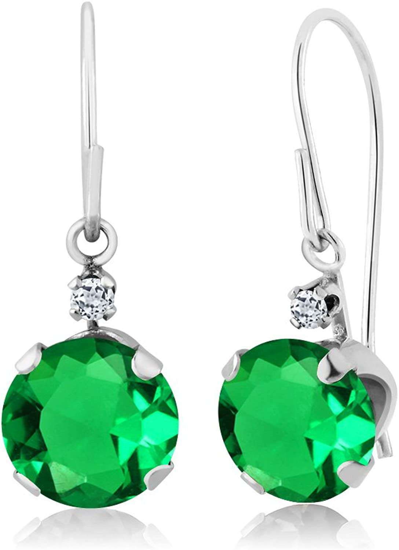 1.58 Ct Round Green Nano Emerald White Topaz 14K White gold Earrings