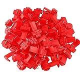 FULARR 50Pcs Scotch Lock Conector Kit, Conectores Empalme Eléctricos, Conector Rama Conector Lock, Rápido Terminales de Empalme Crimp Electrical, para Cable 0.5-1.0mm² / 22-18 AWG –– Rojo