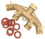 Heavy Duty Brass 4 Way Garden Hose Shut Off Connector (All Brass-1PK)