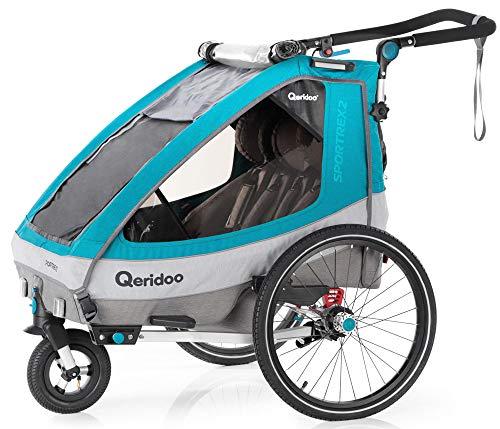 Qeridoo Sportrex - 2 Sitzer - Petrol - 2020 Fahrradanhänger Kinderanhänger