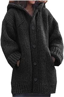 neveraway Women's Hood Single Button Utility Pocket Mid Long Knit Wool Coat
