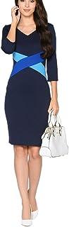 Colyanda Womens Elegant V-Neck 3/4 Color-Block OL Slim Fit Sheath Pencil Dress