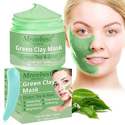 Green Clay Mask, Deep Cleansing Mask, Reinigungsmaske Gesicht, Tiefenreinigungsmaske, Die Feuchtigkeit spendet und das Öl kontrolliert, Verbessert die Haut und Textur der Haut