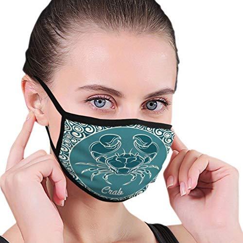 Mond Masker Krab Logo Sjabloon Label Blauw Schilderij