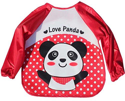 Happy Cherry - Tablier Enfant Blouse de Peinture Cuisine Blouse Imperméable Manches Longues Bavoir Repas Fille Garçon 1 2 3 4 ans - Rouge panda