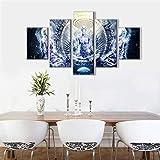 JSBVM 5 Stücke Drucke auf Leinwand Buddha psychedelisch Poster Gemälde Zuhause Dekor Die Bilder für Wohnzimmer Dekoration,A,20×35×2+20×45×2+20×55×1