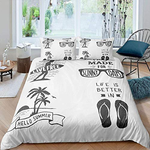 WEDSGTV Duvet Covers Pillowcases 3 Sets 100% polyester cotton, Tropical plants beach sunglasses palm pattern Printed Duvet Cover Single Bed Polyester Bedding Set 3 pcs with Zipper Closure Quilt Cov