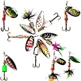 Bogoro 10Piezas Señuelos de Pesca Kits, Señuelos Pesca Accesorios Cebos Artificiales Articulos de Pesca con Ganchos Señuelo para Pescar Estuche para Señuelos con Accesorios con Triángulo Ganchos