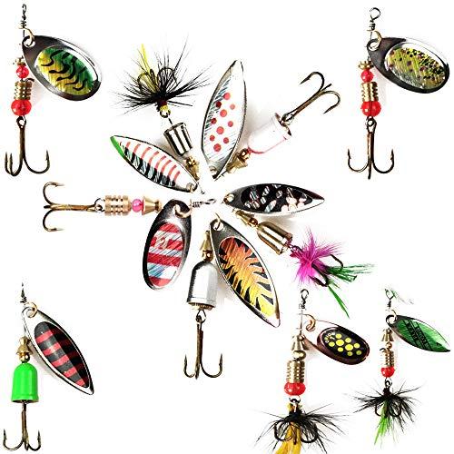 10Piezas Señuelos de Pesca Kits, Señuelos Pesca Accesorios Cebos Artificiales Articulos de Pesca con Ganchos Señuelo para Pescar Estuche para Señuelos con Accesorios con Triángulo Ganchos