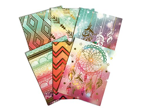 Colorful Geometric Tribal Daydream School Supply Bundle: 6 Items: Six Assorted Kittrich Subject Folders