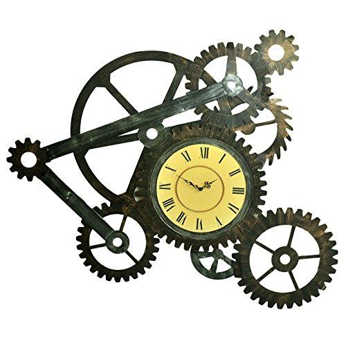 Vinteen Vintage Do Old Industrial Wind Reloj de Pared de Metal Puntero de Imitación de Madera textura Reloj de engranaje Movimiento DIY Clock Table Creativity Horologe Reloj y Relojes