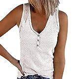 Camisetas Mujer Manga Corta Blusas Y Camisas Sexy con Cuello En V Elegante Jersey Ajustada Camiseta Sólido Blanco XS