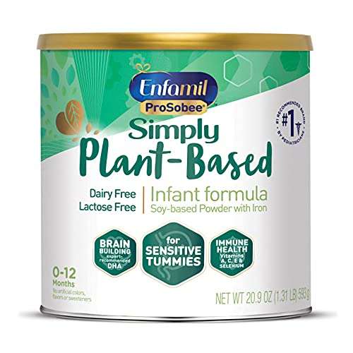 Plant based Baby Formula, 20.9 Oz Powder Can, Enfamil ProSobee for Sensitive Tummies, Soy-based, Plant Sourced Protein, Lactose-free, Milk free (Packaging May Vary)