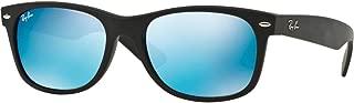 RAY-BAN RB2132 New Wayfarer Mirrored Sunglasses, Black Rubber/Blue Flash, 52 mm
