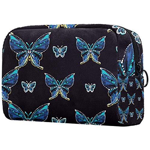 Broderie et strass Petit Papillon Bleu Petit Sac de Maquillage pour Sac à main Voyage Maquillage Pochette Mini Sac à Cosmétique pour Femme