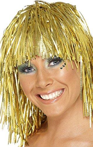 Smiffy's Damenperücke für Erwachsene, 1970er Jahre, Disco-Lametta, lustig, weiblich Gr. Einheitsgröße, gold