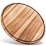 "B.Brown Large Round Wood Cutting Board Round Serving Board Chopping Board Serving Tray (17.5"")"