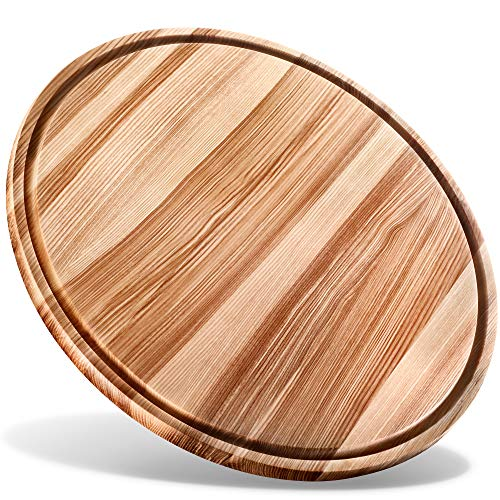"B.Brown Large Round Wood Cutting Board Round Serving Board Chopping Board Serving Tray (17.5"")"