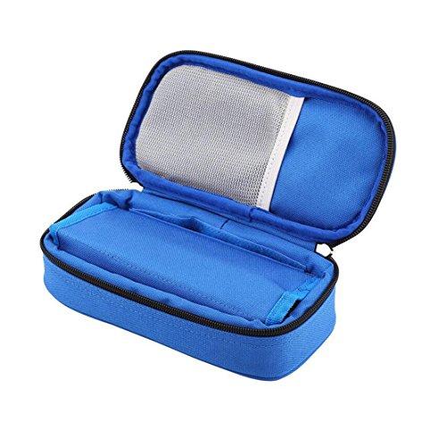 Vianber Borsa termica portatile per insulina Borsa termica per assistenza medica Custodia protettiva da viaggio per il diabetico (Blu)