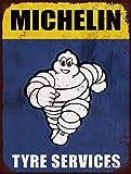 Panneau publicitaire rétro Michelin Tyre Man A4 imprimé sur aluminium brossé.