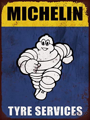 Cartel publicitario retro de Michelin de neumáticos tamaño A4, impreso en aluminio cepillado