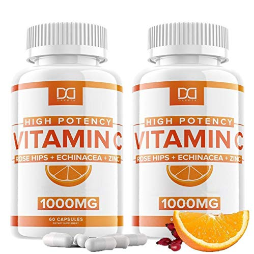 Vitamin C with Zinc 1000mg Capsules Pills Plus Rose Hips, Echinacea for Adults Immune Support Supplement, VIT C Viramin. Vitimin 1000 mg Alternative to Gummies, Chewable Tablets, Powder Drop (2 Pack)