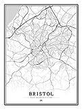 GFHDFHDFJS Leinwand Bild Bristol Stadtplan Drucke Poster