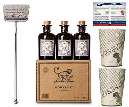 Monkey 47 Set | 6x Monkey Gin Minis | 2x Monkey Becher | 1x Stirrer | Ideales Geschenk-Set