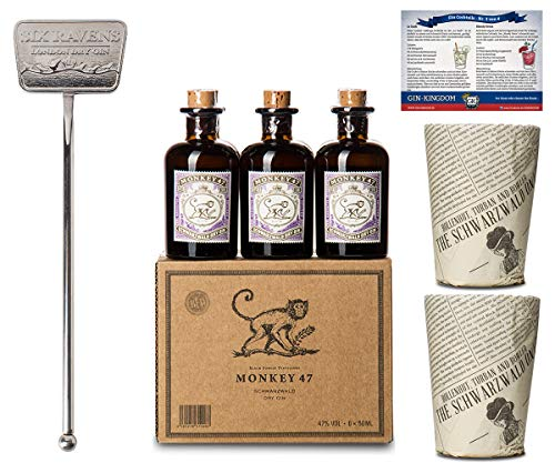Monkey 47 Set | 6x Monkey Gin Minis | 2x Monkey Becher | 1x Stirrer | Ideales Geschenk-Set