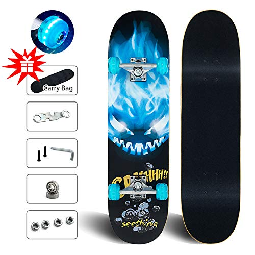 Skateboards with Colorful Flashing Wheels for Beginners & Pro, 31\'\'x 8\'\' Complete Standard Skate Board for Kids Adults, 9 Layer Maple Double Kick Deck Cruiser Skateboards for Extreme Sports & Outdoors