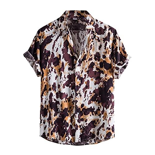 AWDX 2021 Herren HawaiiHemd mit Muster Blumenprint Strandhemd Kurzarmhemd Sommer Urlaub Casual Loose Funky Shirt Männer Bunte Baumwolle Leinenhemd Gedruckt Sommerhemden Henley Shirts Hemd für Jungen
