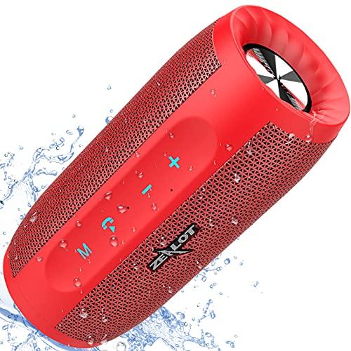 ZEALOT S16 Altavoz Bluetooth, Portátil, 20W estéreo, Sonido 360º Envolvente, 2 subwoofers. con 4000mAh batería portatil, 24 Horas de Reproducción. Impermeable, Manos Libres(Rojo)