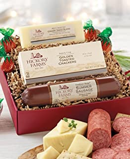 Hickory Farms Gift Set Prime Savory Sampler with Farmhouse Summer Sausage, Cheese, and Crackers - Hickory Farms Holiday Gift Pack Boxes for Christmas