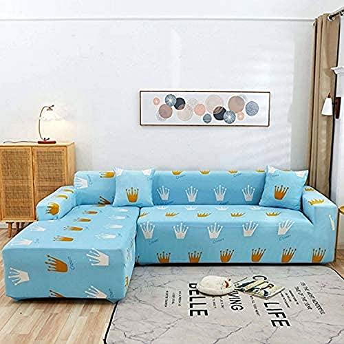 zvcv Fundas de sofá en Forma de L, Fundas de sofá elásticas, Tela de poliéster, para sofá seccional en Forma de L, Antideslizante, Protectores de sofá-L-3 Asientos + 3 Asientos