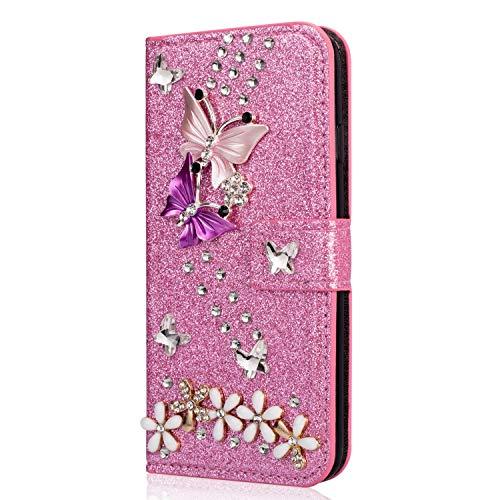 Miagon Hülle Glitzer für Huawei P40 Pro,Diamant Strass Schmetterling Blume PU Leder Handyhülle Ständer Funktion Schutzhülle Brieftasche Cover,Rosa