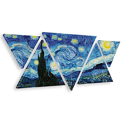 Giallobus - Cuadro Triangular Multipanel Vincent Van Gogh - Noche Estrellada - Lienzos Modernos - 180 x 70 CM